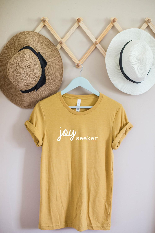 grits grace and granola, joy seeker, faith, christian shirt, t-shirt, etsy, etsy shop, etsy seller, t-shirt, boho style, joy, hope