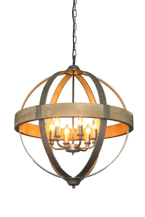 Round metal wood inner chandelier light fixture aloadofball Image collections