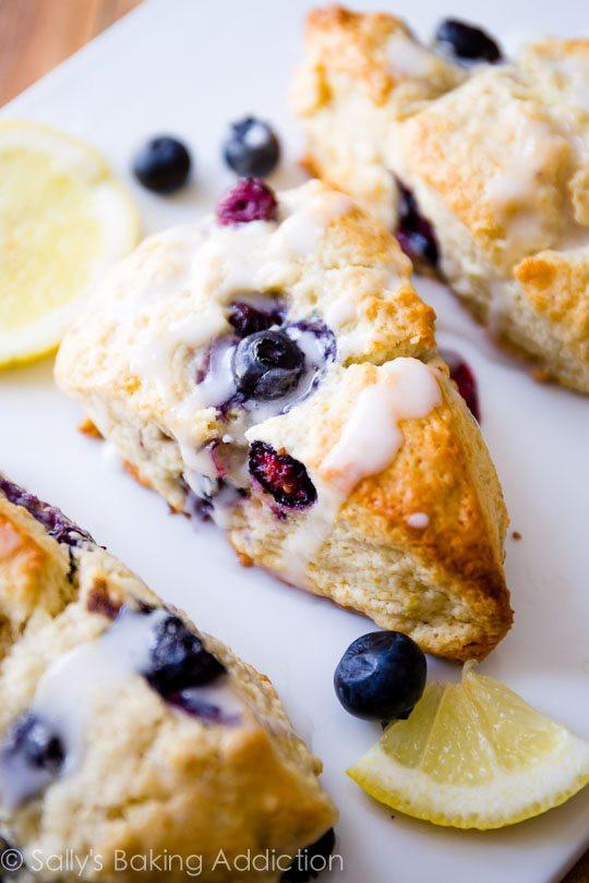 breakfast, brunch, sally's baking addiction, scones, fruit, recipe, lemon, blueberry