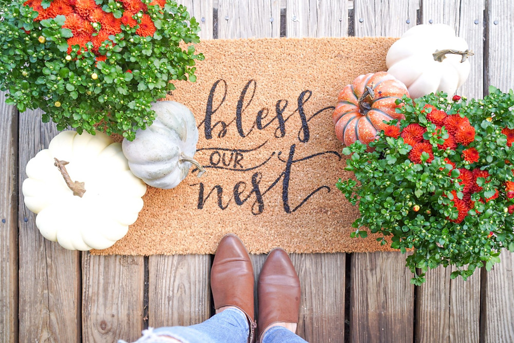 diy welcome mat, welcome mat, outside rug, diy, painted rug, bless our nest, stencil rug, farmhouse rug, rug, farmhouse decor, farmhouse diy