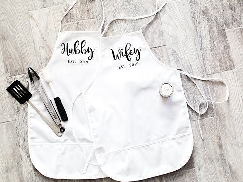 Hubby and Wifey Wedding Farmhouse Personalized Apron Set