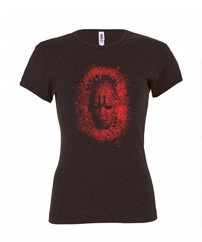 Mask Ladies Tee - Chocolate/Red