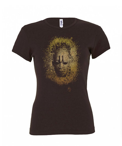 Mask Ladies Tee - Chocolate/Faded Gold