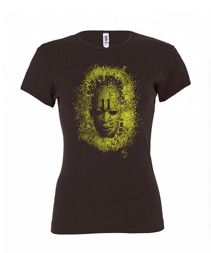 Mask Ladies Tee - Chocolate/Olive Green