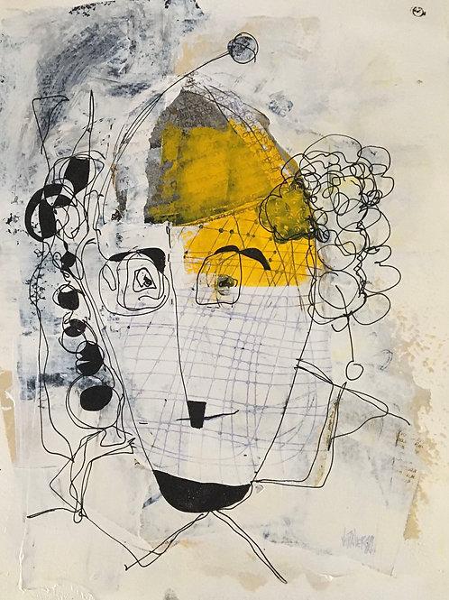 """Vida Verba, portrait """"Confinement"""" Chapeau jaune"""