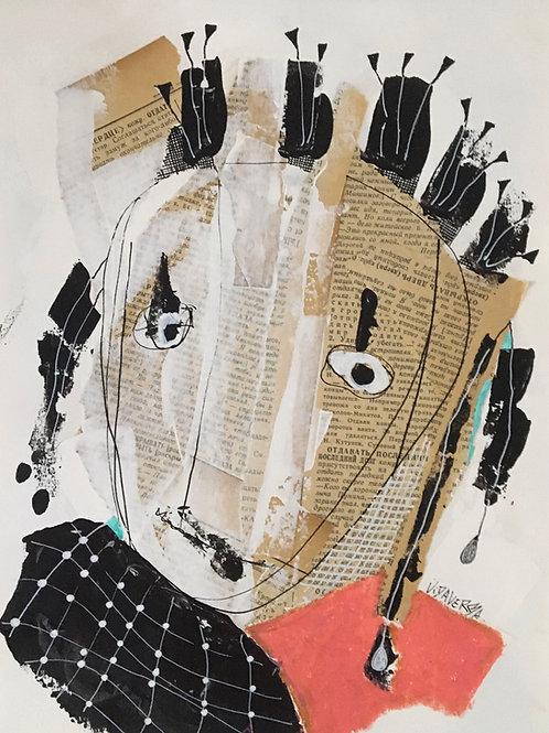 "Vida Verba, portrait ""Confinement"" Fille en rose"