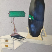 Ramin Parvin, mixed media on cardboard,