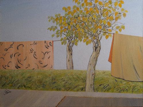 Toile Rose & Vert - Azadeh Yavari