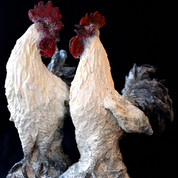Rooster, in patinated baked stoneware, L15 x H20 cm