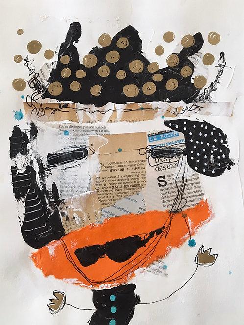 "Vida Verba, portrait ""Confinement"" Masque Orange"