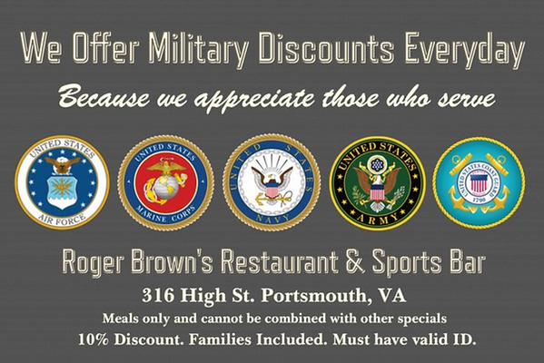 MILITARY DISCOUNT AT ROGER BROWNS PORTSM