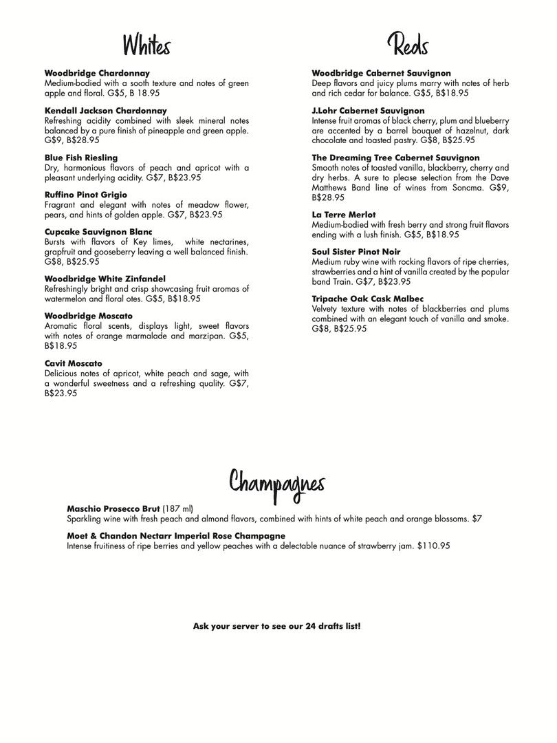 Roger Brown Wine List