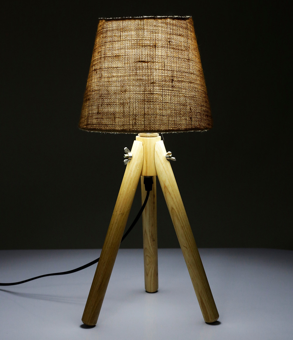 teak wood lamp shade with Jute shade