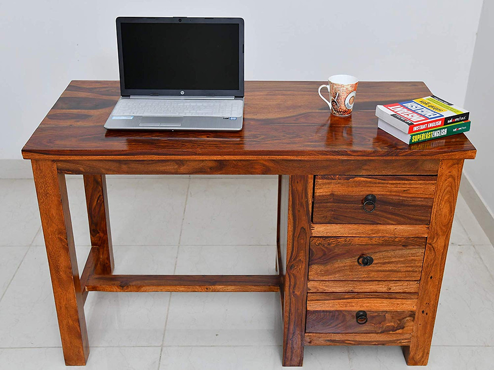 Sheesham wood study table with storage on one side