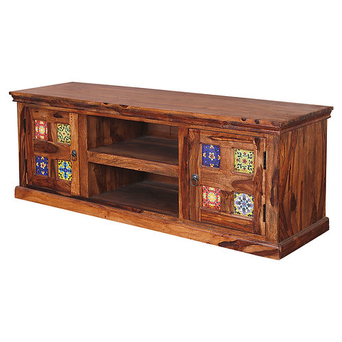 Lech Solid Wood TV Stand (Natural Teak Finish)
