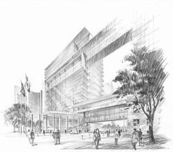 01-B&W South Pedestrian Perspective