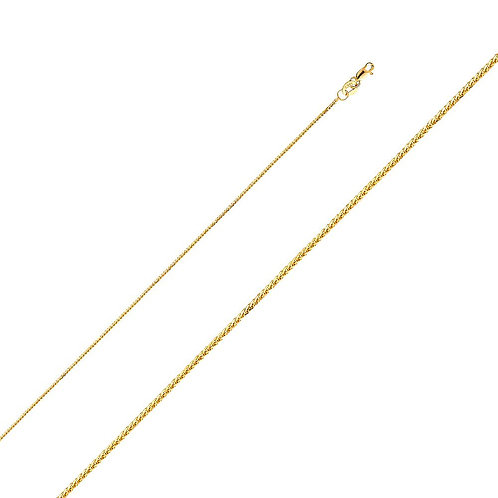 14k Yellow Gold 0.8-mm Square Wheat Chain Necklace