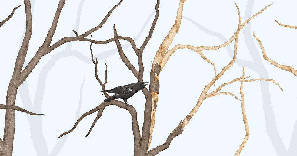 RAVEN IN FOREST - BLUE