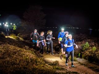 Night trail running event Scotland