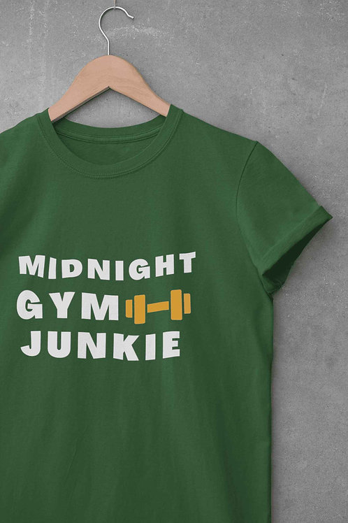 Midnight Gym Junkie - Round Neck T-Shirt