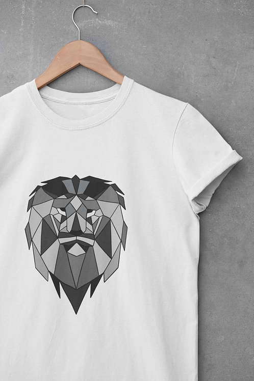 Lion Face Graphic - Round Neck T-Shirt