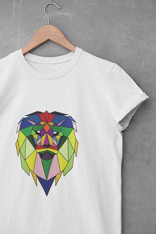 Lion Face Graphic Coloured - Round Neck T-Shirt