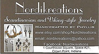 Nordikreations business card with shop a