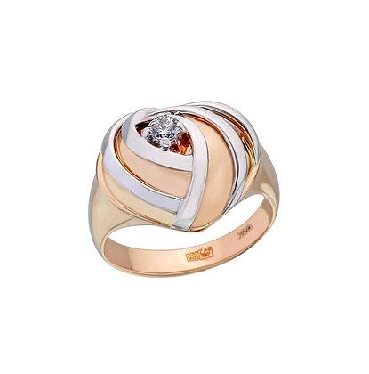 Кольцо сердце с бриллиантом