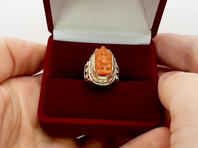 Золотой женский перстень Ганеша