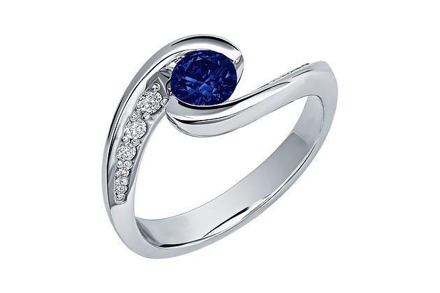 Кольцо сапфир с бриллиантами