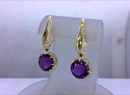Сережки с аметистами и бриллиантами