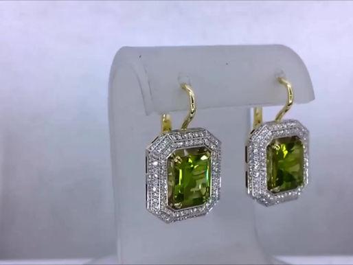 Серьги с хризолитами и бриллиантами