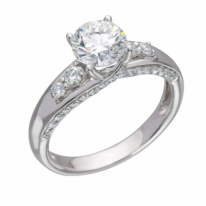 Кольцо с бриллиантом 1 карат в обсыпке