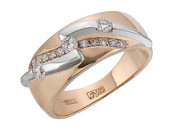 Широкое золотое кольцо с бриллиантами