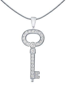 Подвеска из белого золота ключик с бриллиантами