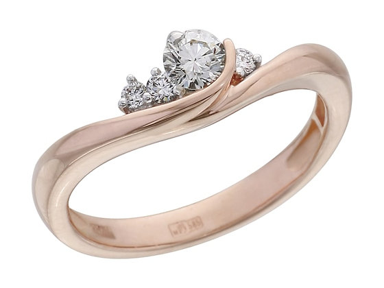 Кольцо розовое золото с бриллиантами