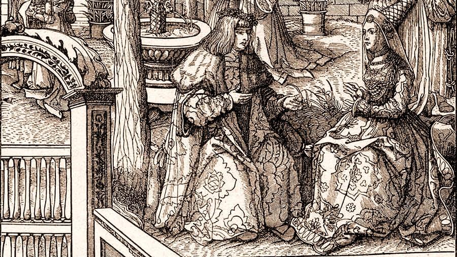 Эрцгерцог Максимилиан подарил Марии Бургундской кольцо с бриллиантом.