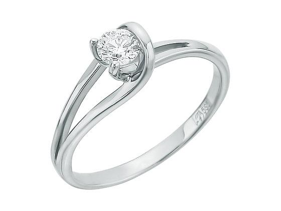 """Золотое кольцо с одним бриллиантом 0,30 карат """"Петелька"""""""