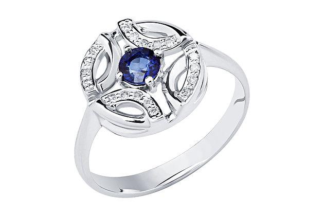 Кольцо с сапфиром и бриллиантами белое золото