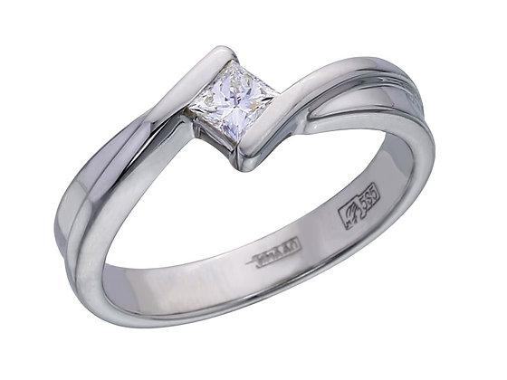 """Золотое кольцо с квадратным бриллиантом """"Принцесса"""""""