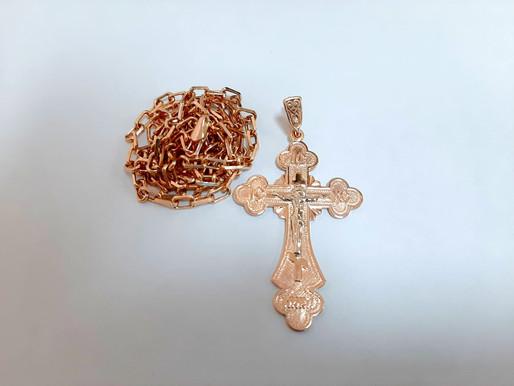 Ремонт золотой цепочки с крестом