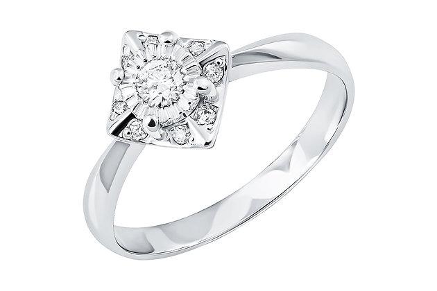 """Кольцо из белого золота с бриллиантом """"Иллюзия"""""""