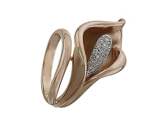 Золотое кольцо в форме цветка каллы