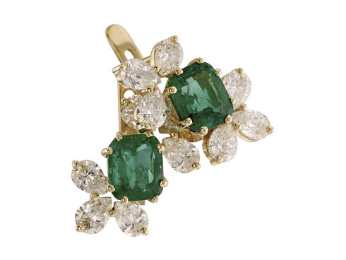 Золотые серьги с крупными изумрудами и бриллиантами на заказ