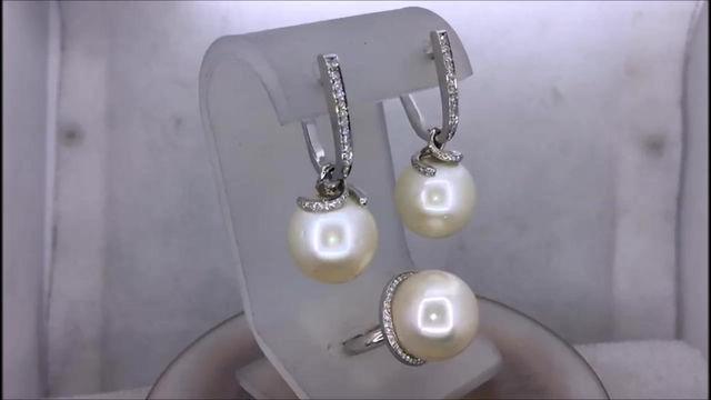 Гарнитур серьги и кольцо с жемчугом и бриллиантами