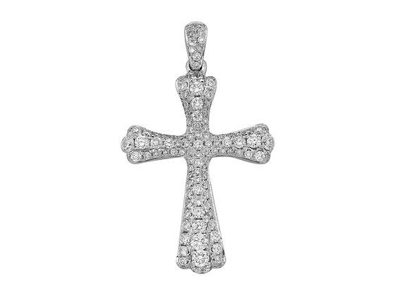 Крестик из белого золота с бриллиантами.