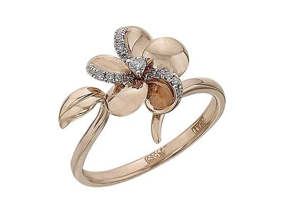 Кольцо цветок с бриллиантом