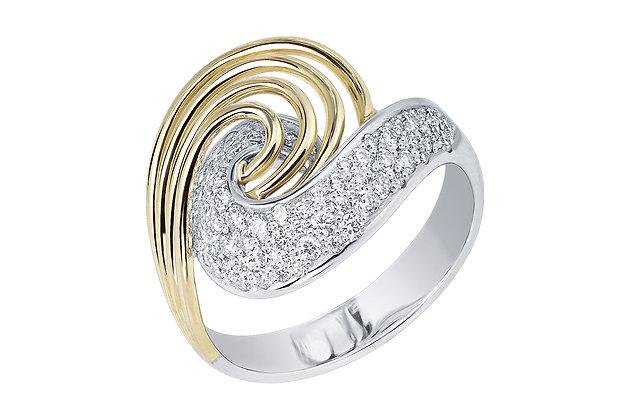Кольцо с россыпью бриллиантов из комбинированного золота