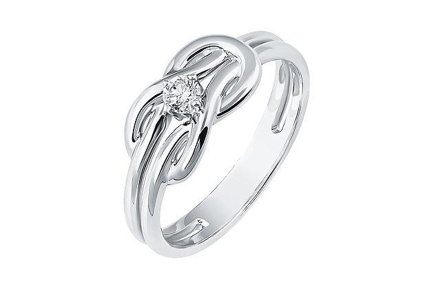 Кольцо морской узел с бриллиантом