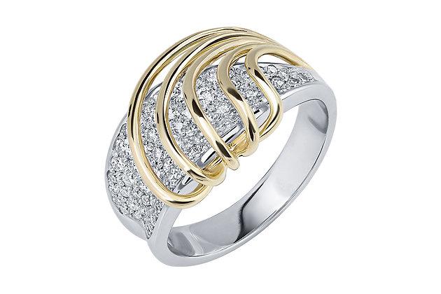 Кольцо с россыпью бриллиантов из золота